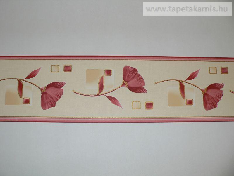 Piros virágos bordűr 452-1