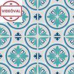 Kék cementlap mintás öntapadós tapéta 14083