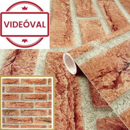Öntapadós tapéta kőmintás, vörös téglamintás Ahaus rot 200-2158.
