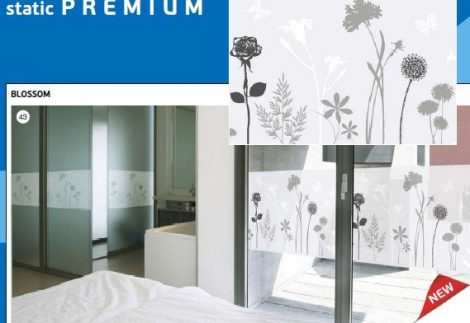 Virágmintás statikus üvegtapéta-Premium Blosom 334-0021.