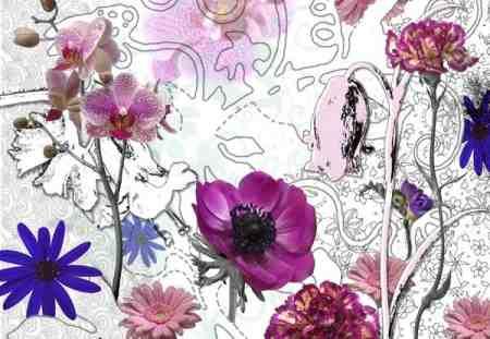 8887 Poszter rózsaszín virágos.